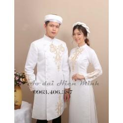 Áo dài cưới màu trắng, áo dài cưới Gấm