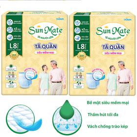 Combo 2 gói tã quần Sunmate size M9 - L8 Siêu mềm mại - tã quần người già - 2AP