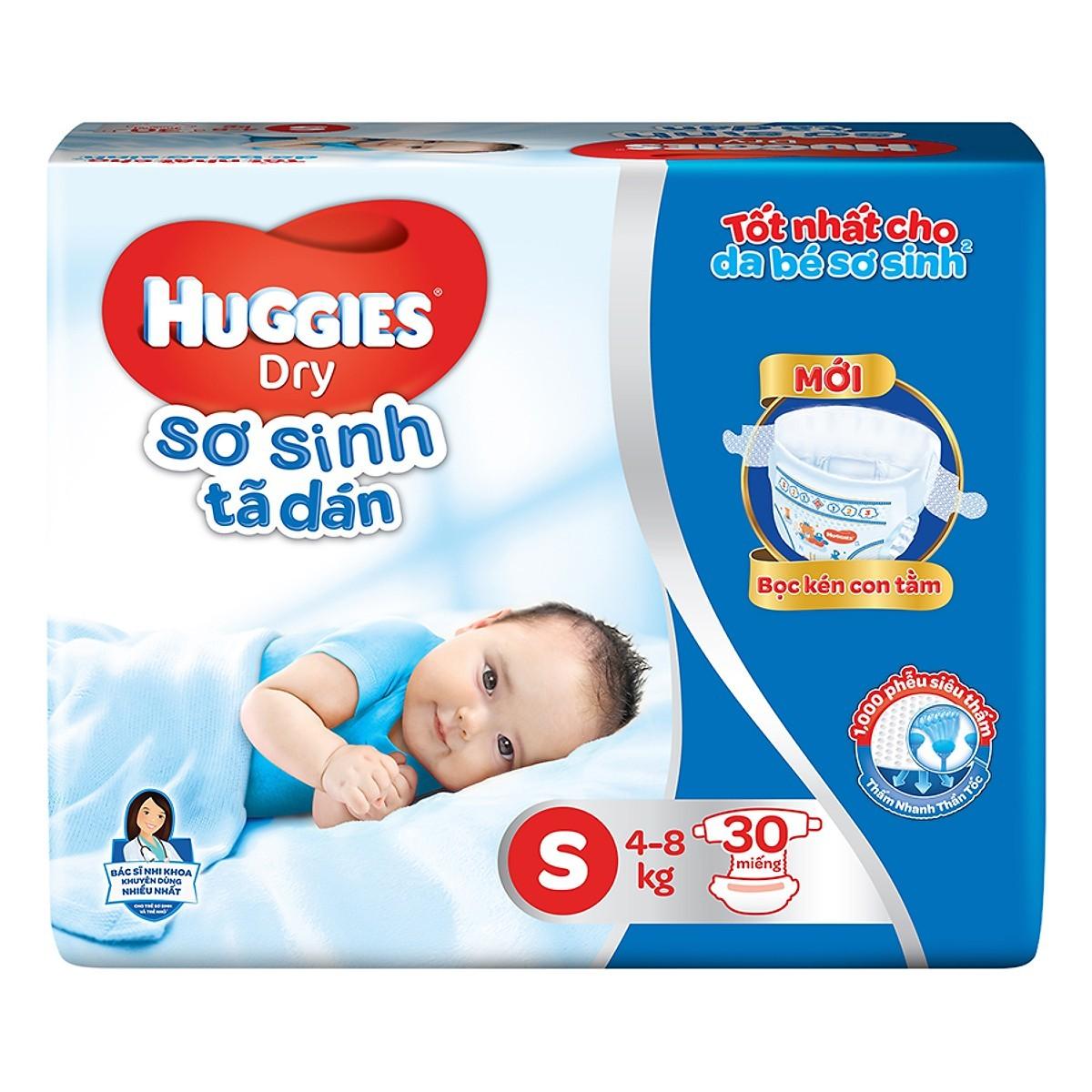 Hcm - tã dán sơ sinh huggies dry newborn s30 - 30 miếng - bao bì mới