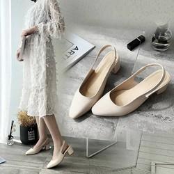 Giày cao gót nữ quai chun dáng mary janes