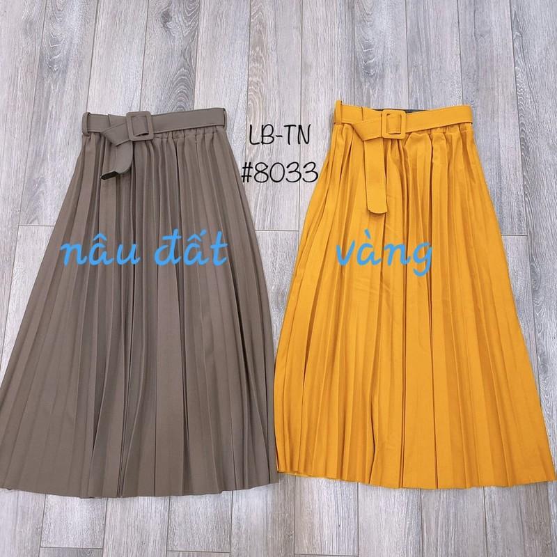Chân váy xếp ly dáng dài kèm đai – 284