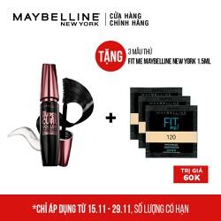 [QUÀ ĐỈNH 0Đ] Mascara Làm Cong Mi Maybelline Hyper Curl Đen 9.2ml - TẶNG Kem nền FIT ME MAYBELLINE NEW YORK dạng sachet 1.5ml x 3