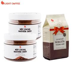 [Quà đỉnh 0Đ] Bột Cacao nguyên chất, combo 2 hũ 150g - Tặng Cà phê rang xay Thượng hạng Light Coffee 100g