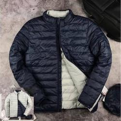 Áo khoác phao nam 2 mặt màu xanh than - ghi sáng