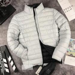 Áo khoác phao nam 2 mặt màu ghi sáng - đen