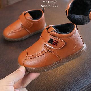Giày bốt bé trai giày cổ cao cho bé trai 1 đến 3 tuổi lót lông ấm áp GE39