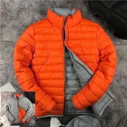 Áo khoác phao nam 2 mặt chất đẹp màu cam - ghi tối