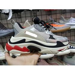 Giày Triple S bạc phản quang