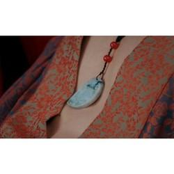 Ngọc bội tình duyên lứa đôi TỰ TÂM cổ trang gắn hồng châu dây chuyền đeo cổ phụ kiện trang sức nam nữ cổ trang