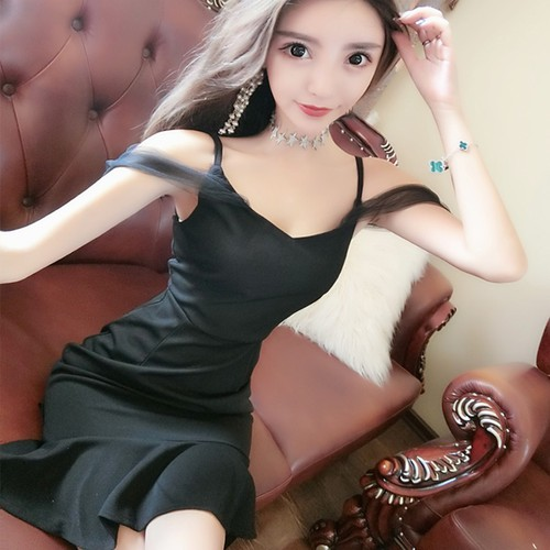 Váy nữ xòe  phối ren 2 dây crop ngực chiết eo 2 vai bánh bèo đáng yêu - váy nữ trơn 2 màu đen trắng chất vải cotton dày dặn