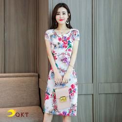 Đầm trung niên hoa lá QKT da109