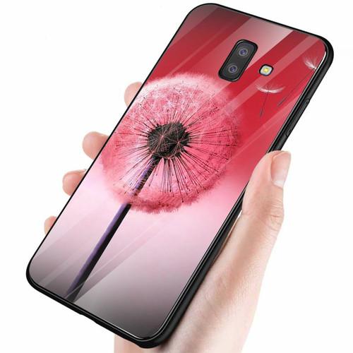 Ốp điện thoại kính cường lực cho máy samsung galaxy a6 plus - bồ công anh đỏ ms alt004