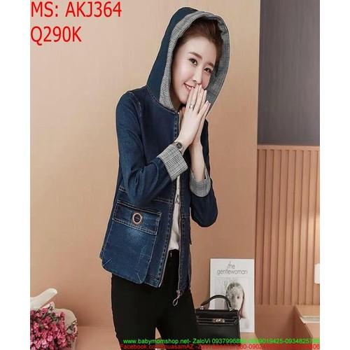 Áo khoác jean nữ có nón phối túi to xinh xắn akj364