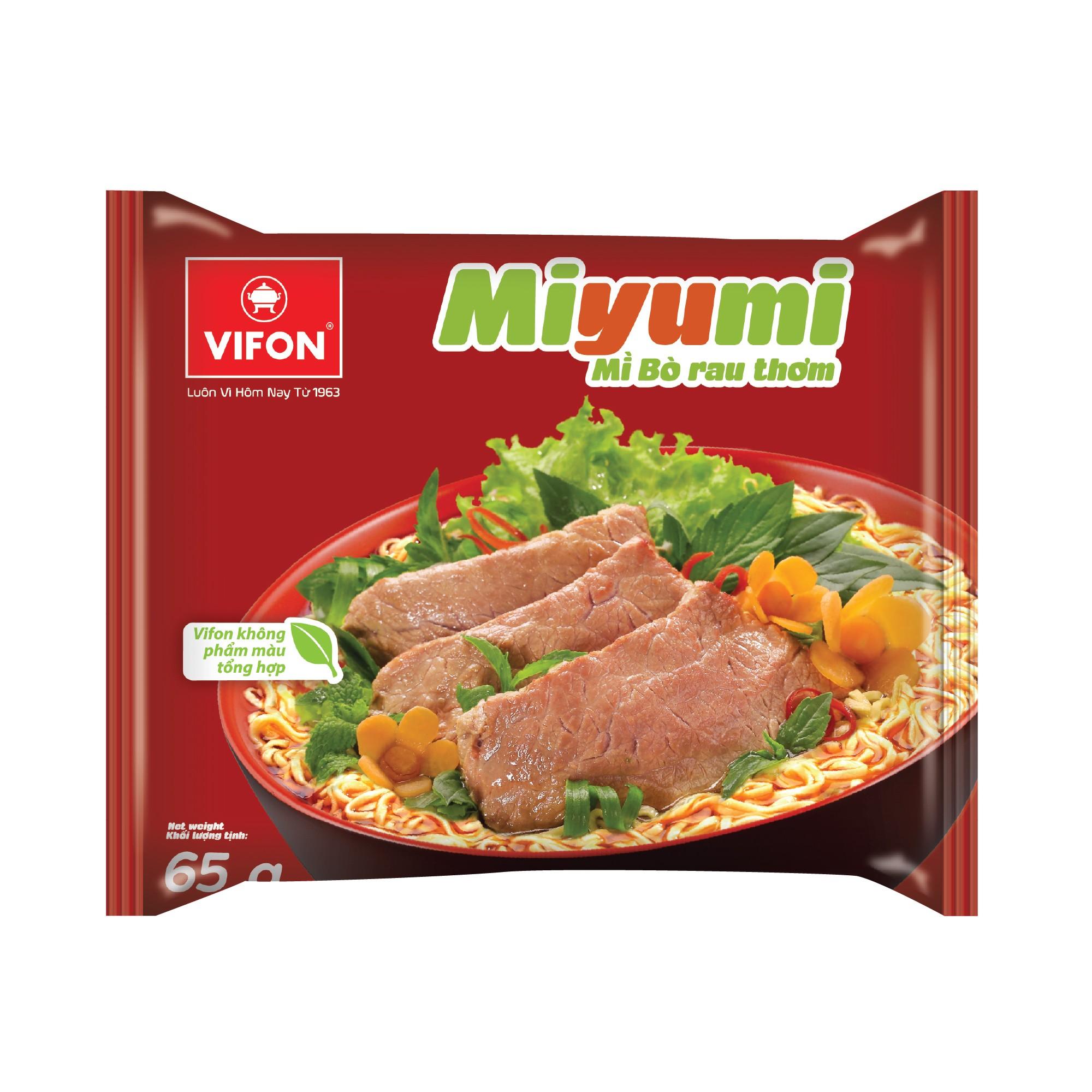 Thùng 30 Gói Mì Miyumi Bò Rau Thơm 65g Vifon - 893456125218401