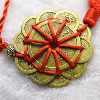 Chuỗi tiền xu hoa mai phát lộc 10 đồng nhỏ và 1 đồng đại dây tết đỏ vàng kèm 2 hạt kim loại trang trí - 06004 thumbnail