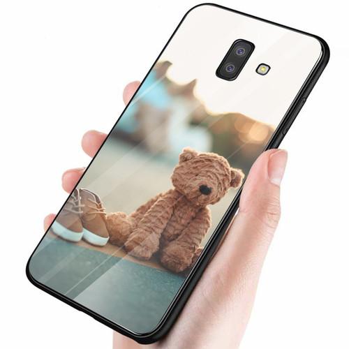 Ốp điện thoại kính cường lực cho máy samsung galaxy a5 2018 - a8 2018 - gấu và giày ms alt005