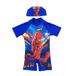 Bộ đồ bơi liền thân siêu nhân người nhện kèm nón bơi cho bé trai
