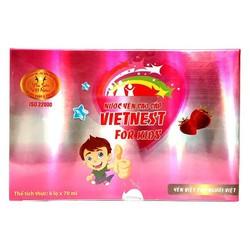 Hộp quà tặng 6 lọ nước yến cao cấp vị dâu chưng sẵn nhiều dinh dưỡng, protein, chất đạm và vitamin cho bé VIETNEST For Kids 70ml -Green Mart HCM