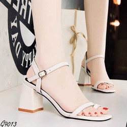 Giày cao gót Sandal Cao Gót Quai Gài Da Cao Cấp Nữ Đế Vuông Cao 7p Citas CTG9013