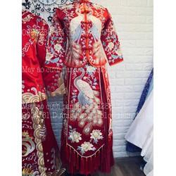 áo dài cưới trung hoa nam nữ áo khoả thêu xinh đep