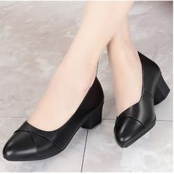 Giày cao gót nữ da lì 4cm siêu mềm êm chân xếp li xinh xắn