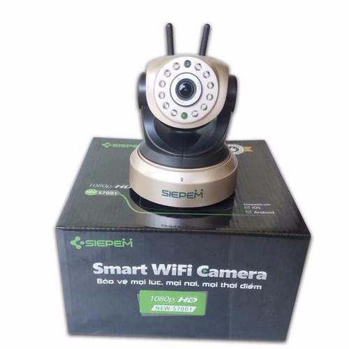 Camera ip siepem xoay 2 anten 2.0m – s7001 plus - hỗ trợ thẻ nhớ 64gb – 11 đèn ir led – phần mềm p2p cam plus - màu vàng đồng