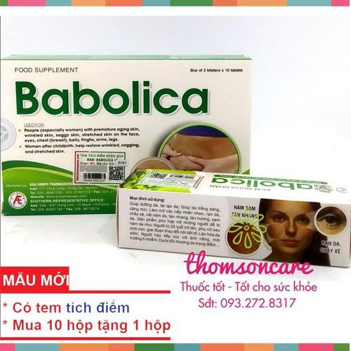 Babolica hỗ trợ giảm rạn da sau sinh   giúp giảm nhăn chảy xệ   viên uống kết hợp kem bôi