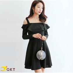 Đầm công sở, đầm xòe nữ QKT bệt vai nữ tính da87