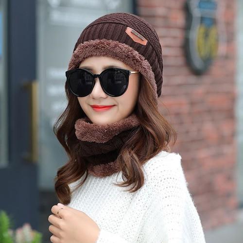 Mũ len ấm kèm khăn