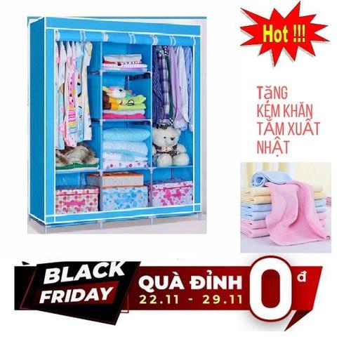 Tủ vải 3 buồng 8 ngăn khung inox tủ vải cao cấp tặng khăn tắm xuất nhật