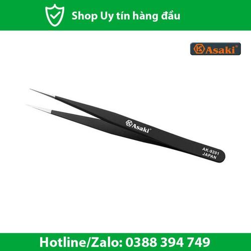 Nhíp gắp linh kiện chống tĩnh điện mũi nhọn 135- 9- 2mm asaki ak-9201