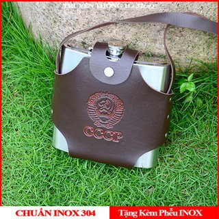 Bình INOX CCCP Cao Cấp 1L - Tặng Kèm bao Da và Phễu INOX - Bảo Hành Uy Tín - Truyền Thống 1L-Bền Đẹp thumbnail