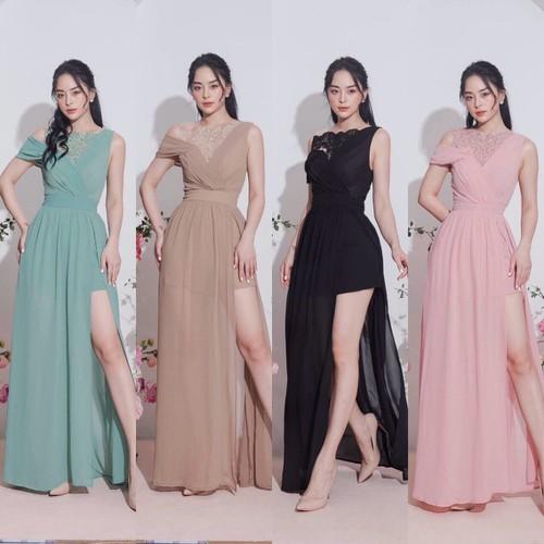 Đầm dạ hội rớt vai xẻ tà