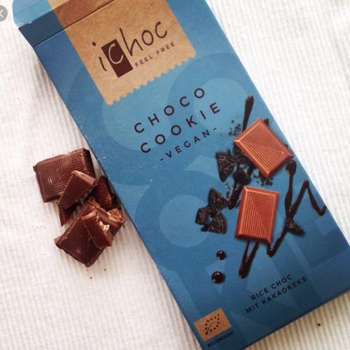 Socola hữu cơ ichoc choco cookie - nhân vị gạo + caocao thỏi nhỏ 80g