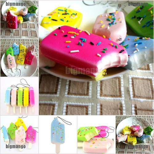 Bigmango squishy sprinkles popsicle phone straps soft bread scented key chains kids gift adover