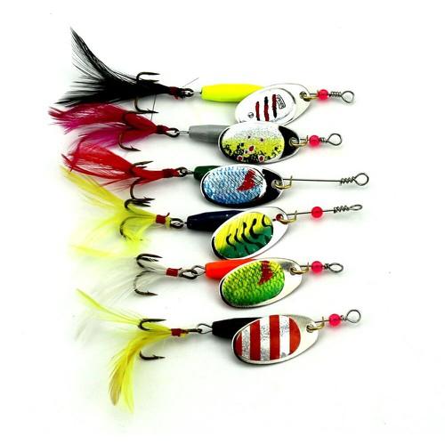 Spinner mồi câu jig tỏa sáng kim loại đầm cá hồi thìa wobblers quay mồi câu kim loại mồi câu cá móc con quay mồi câu 6pc