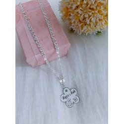 Dây chuyền bạc kèm mặt hoa khắc tên cho bé gái