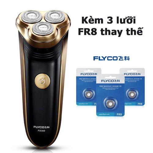Combo máy cạo râu cao cấp flyco fs360 kèm bộ 3 lưỡi fr8 thay thế