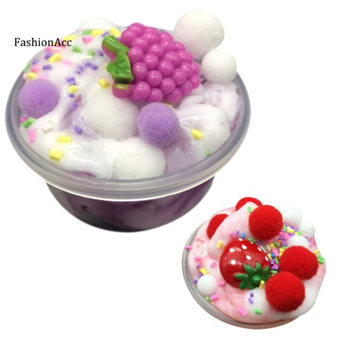 Fhac macaroon fluffy fruit slime squishy squeeze scented stress relief kids toy gift