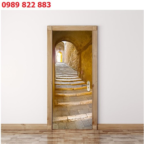 Tranh 3d dán cửa hình cổng lối đi cầu thang dm016 - tranh trang trí tạo điểm nhấn cửa - decal dán cửa