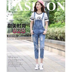 Quần yếm ống dài jean nữ ms828