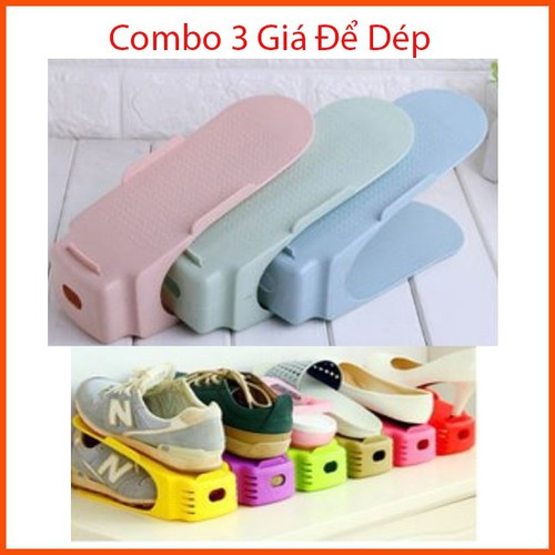 Combo 3 kệ giày dép nhựa xếp gọn - giá để giày dép thu gọn - kẹp dép bằng nhựa