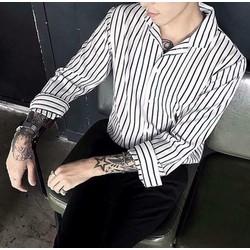 Sơ mi sọc nam trắng đen Bền Đẹp chống xù áo sơ mi nam dáng chuẩn co giãn nhẹ