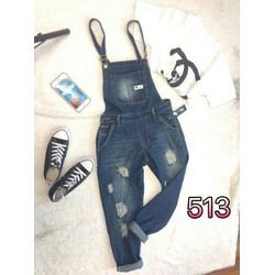Quần yếm ống dài jean nữ ms513