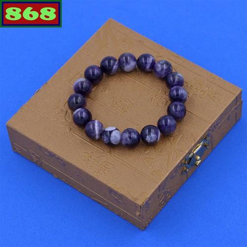 Vòng chuỗi đá thạch anh tím than 12 ly 16 hạt ctdtatha12 kèm hộp gỗ