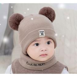 Mũ len 2 cục bông mũ len em bé mũ len kèm khăn mũ len bé trai mũ len bé gái nón len siêu ấm