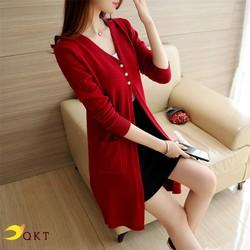 Áo khoác len cardigan QKT dáng dài có cúc đóng sang trọng ak33