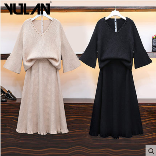 Set áo len cổ v và chân váy  thời trang hiệu yulan