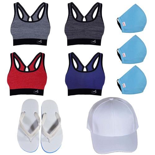 Combo 6 món đồ nữ 1 áo tập gym 1 nón 1 dép 3 khẩu trang