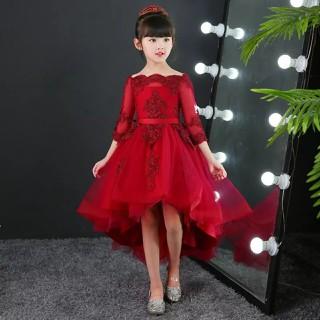 Váy Đầm Công Chúa Bé Gái Đỏ Đô Tay Lửng Sang Chảnh